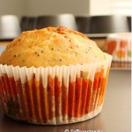 Orange poppy seed muffin with orange marmalade glaze for the spring