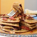 Banana pancakes with choclate chips and pecan  – breakfast in bed
