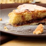 Bakewell tart with blueberry jam