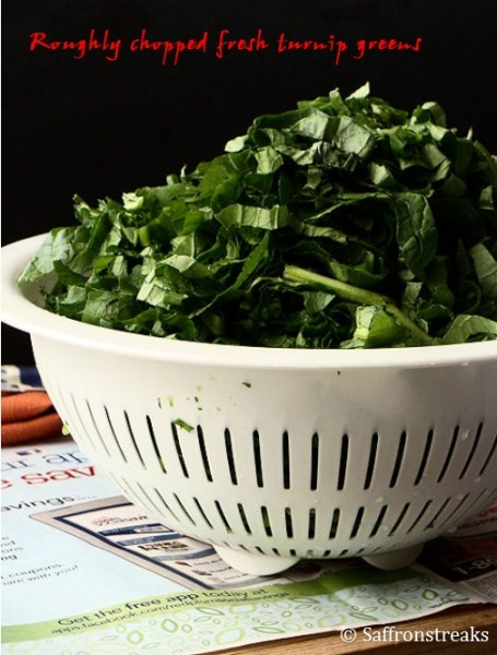 chopped turnip greens