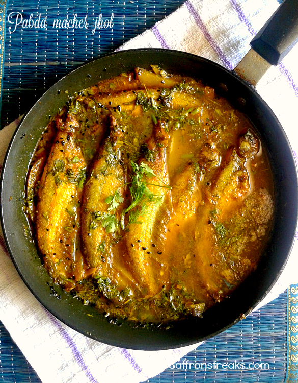 Pabda macher jhol kalojeere ar bodi diye / fish curry with nigella & no-onion no-garlic recipe