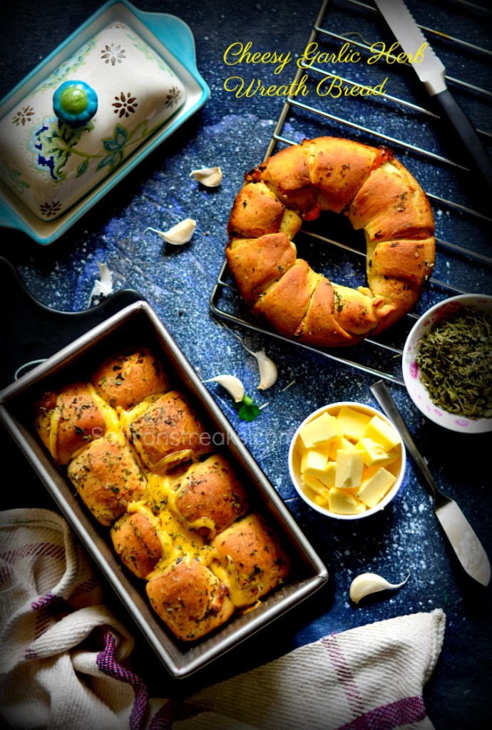 garlic cheese bread baking