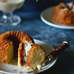French Orange Yogurt Bundt Cake Served With Thickened Orange Cream or Indian Basundi
