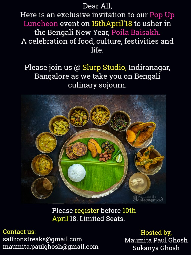 poila baisakh menu lunch event pop up bangalore 2018