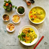 Burmese Khow Suey - A Delightful Noodle Soup With Coconut Milk { Vegan }