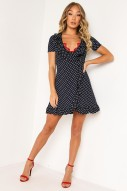 NAVY POLKA DOT TEA DRESS