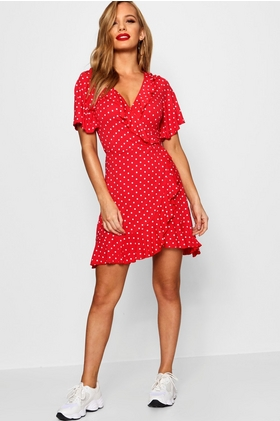 Petite Polka Dot Ruffle Wrap Tea Dress