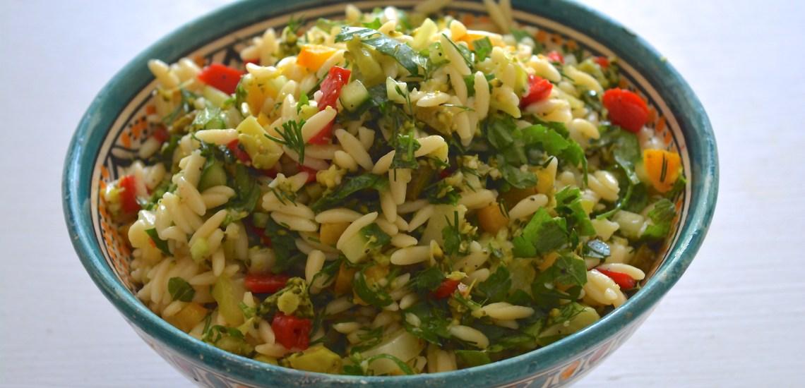 broccolisalad with orzo pasta