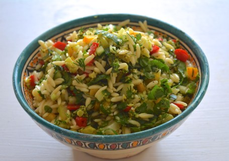 broccolisalad with orzo pasta