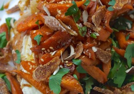 Roasted carrot salad on toast safranaargana