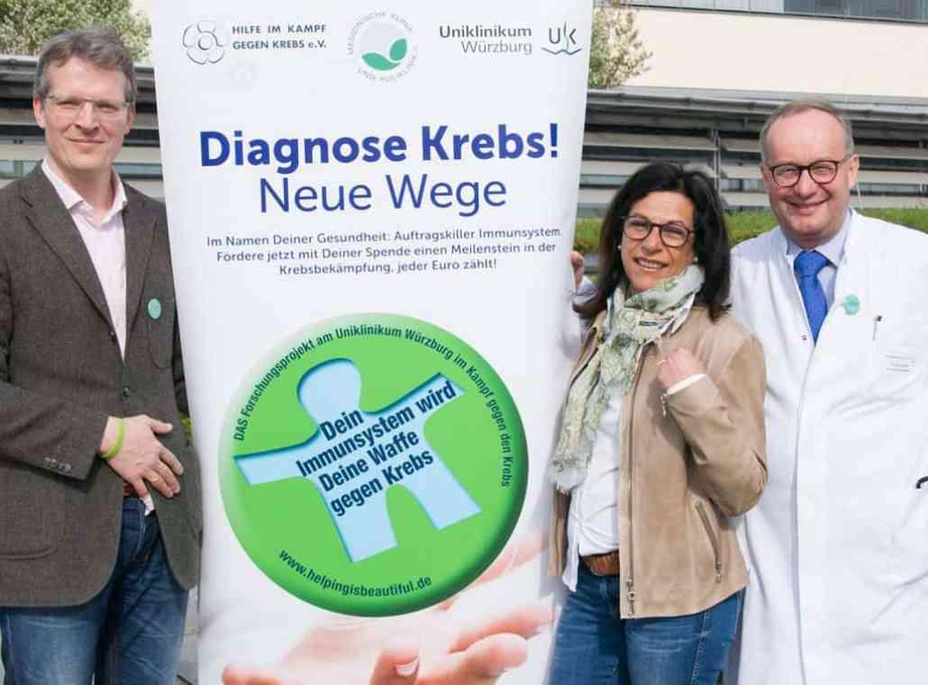 V.l.n.r Dr. Thomas Bumm, Gabriele Nelkenstock und Prof. Dr. Hermann Einsele
