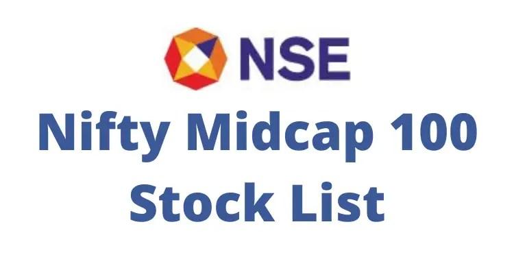 Nifty midcap 100 stocks list 2021