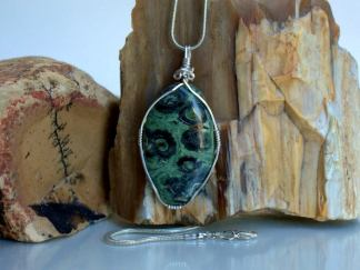 Crocodile Jasper, oval shape pendant, necklace