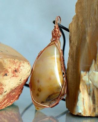 Polka dot agate, large stone jewelry necklace