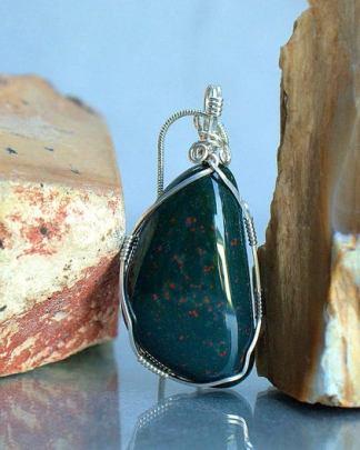 Natural healer, green Blood stone, talisman necklace