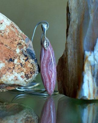 Rose color crystal, Rhodochrosite charm necklace