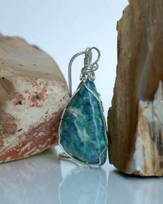 Light green mineral, Ruby crystal, stone pendant