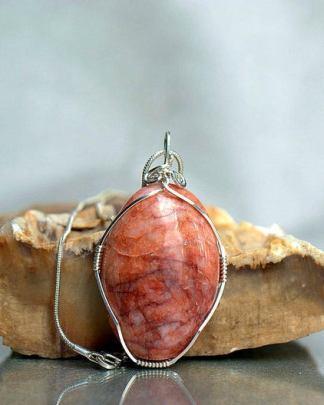 Red vein Jasper, oval shape pendant