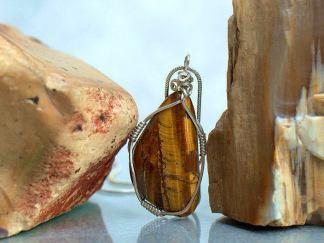 Golden tiger eye, free form pendant necklace