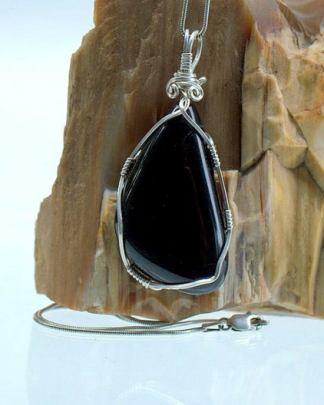 Nephrite mineral, black Jade free form pendant