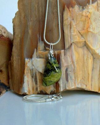 Unakite charm, nature green jasper necklace