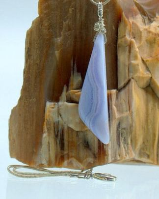 blue lace agate charm necklace