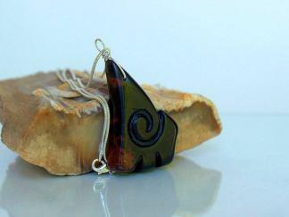 Hand carved gemstone, fantasy design necklace