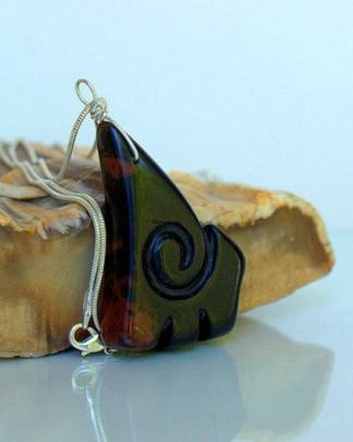 Hand carved gemstone, fantasy design necklace