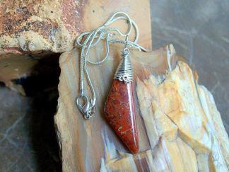 Red Gem bone, free form pendant, Dinosaur bone