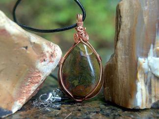 Moss Agate necklace, teardrop shape pendant