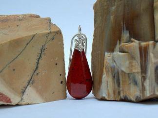 Silver set red stone, Hematite Jasper necklace