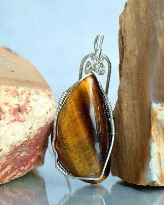 Natural Tiger eye gemstone pendant