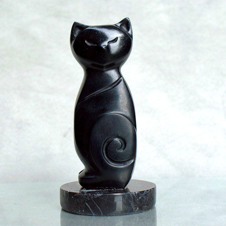Black cat figurine,abstract,soapstone carving