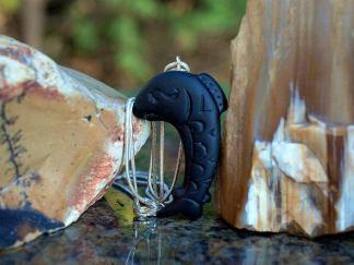 Hand carved talisman, Salmon stone pendant