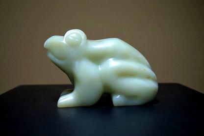 Green frog sculpture