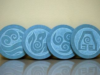 Four Element symbols,green Slate stone coasters