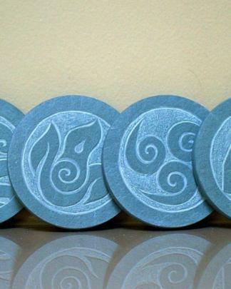 Four Element symbols,green Slate stone coasters