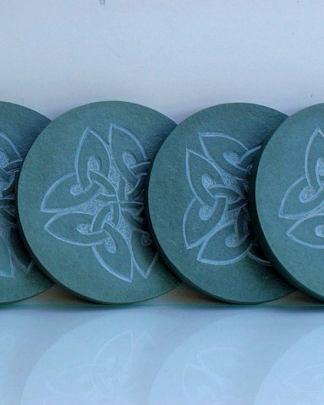Four leaf clovers,Celtic symbols,carved coasters
