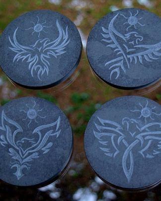 Stone drink coasters,hand carved,black slate