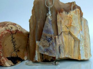 Plume Agate pendant, large size gemstone with necklace