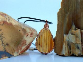 Agate pendant, copper wire wrapped gemstone necklace