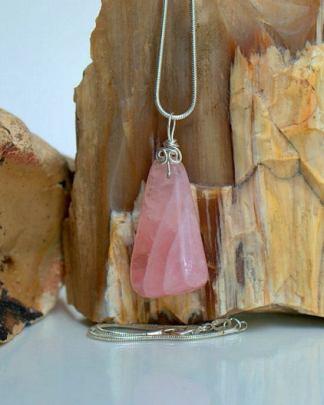 Translucent pink gemstone, Rose quartz pendant