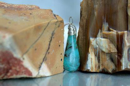 Blue Chrysocolla, Arizona gemstone charm pendant