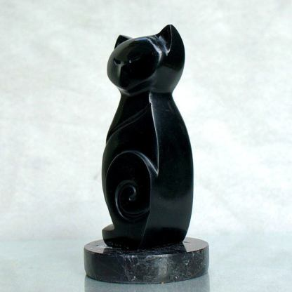 Black cat figurine, abstract, soapstone carving