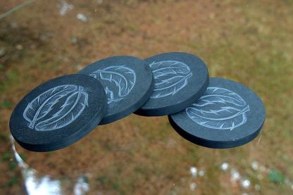 Feather design, hand carved black stone coasters