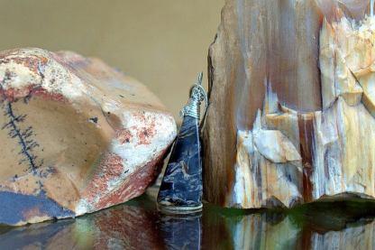 Blue patterned gemstone, Morrisonite pendant