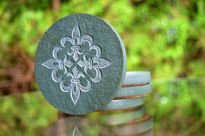 Fleur de Lis, green stone, carved drink coasters