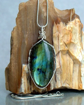 Large oval shape blue flash gemstone pendant