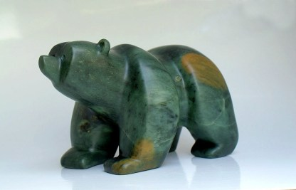 Bear stone figurine, hand carved small sculpture