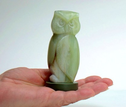 Small owl carving, soapstone figurine green base